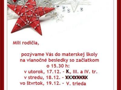Vianočné besiedky – ZMENA